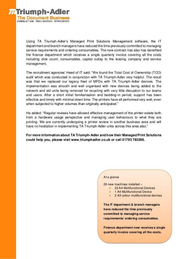 Recruitment Agency Takes On TA Triumph Adler to Rationalise Their Pri…