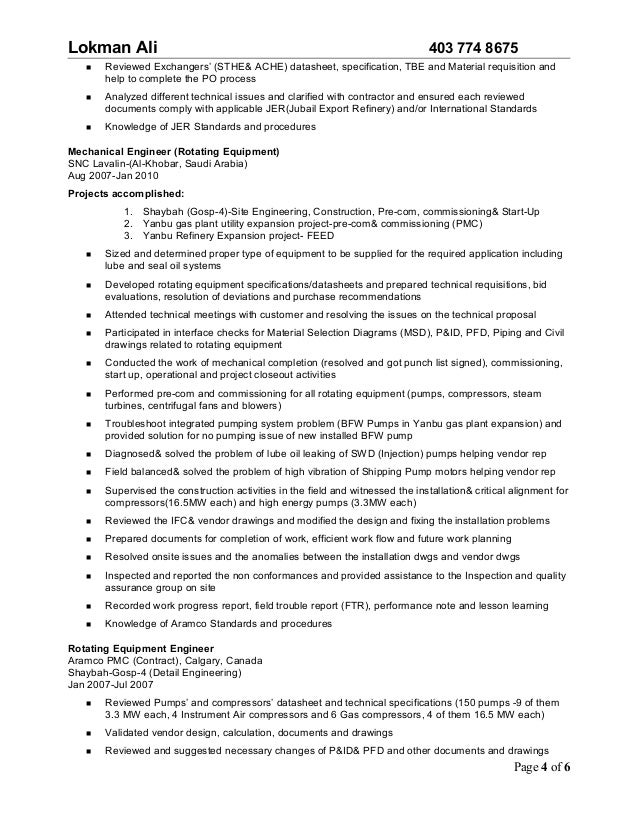 page 3 of 6 4 - Rotating Equipment Engineer Sample Resume