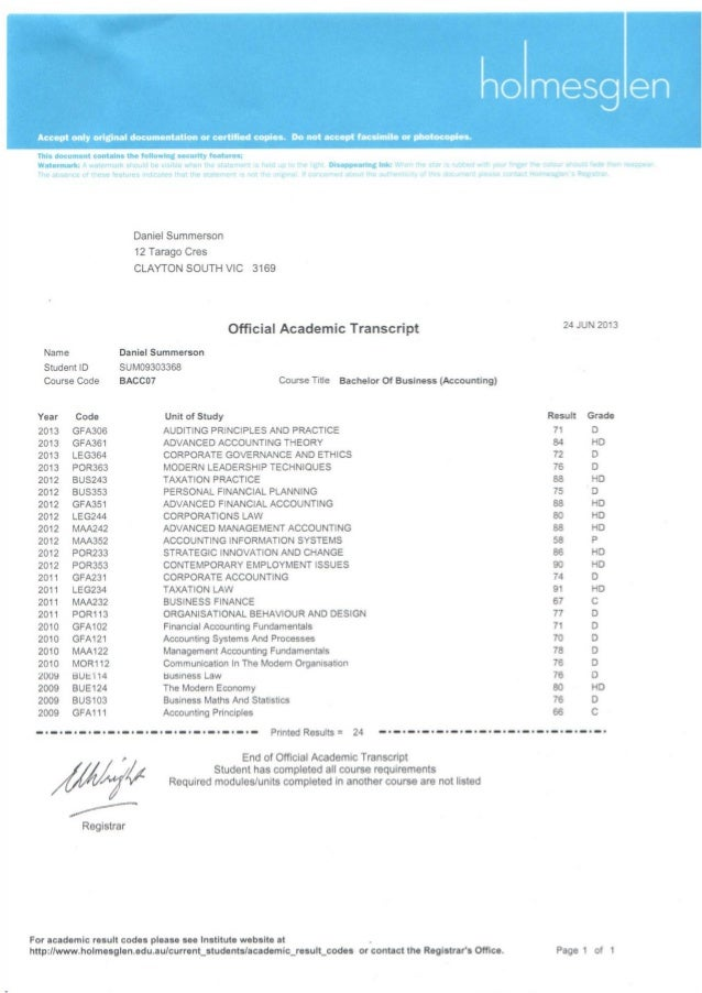 Daniel Summerson academic transcript
