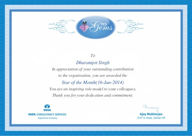 To Dharamjot Singh In appreciation of your outstanding contribution to the organisation, you are awarded the Star of the M...