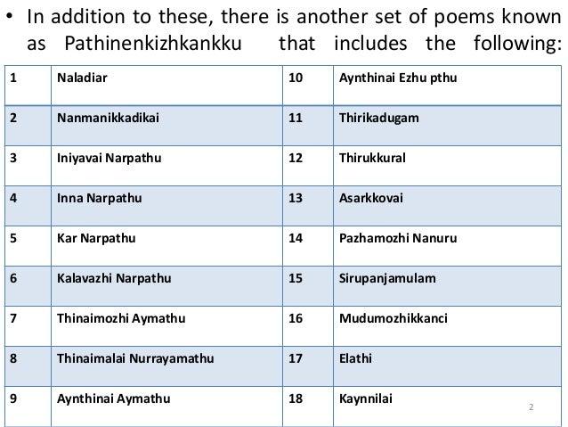 literary tradition of tamil   pathinenkizhkankku