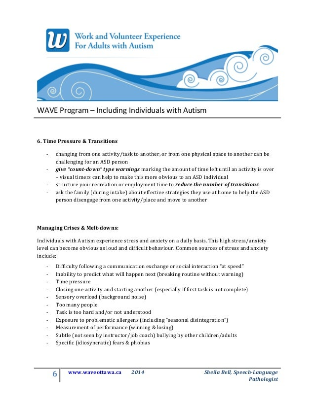 Autism And Anxiety Common Companions >> Wave Autism Inclusion 101 Companion Handout