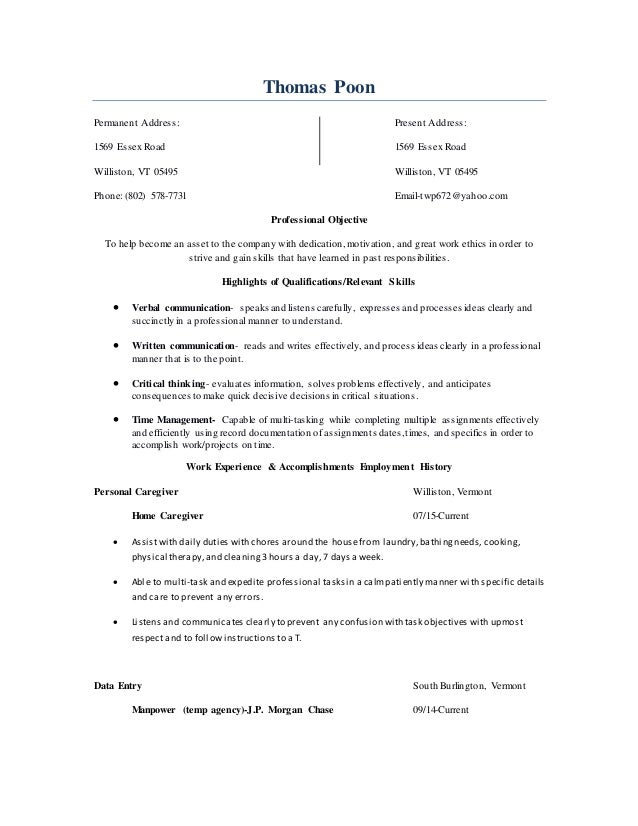 resume 2015 10 year work history