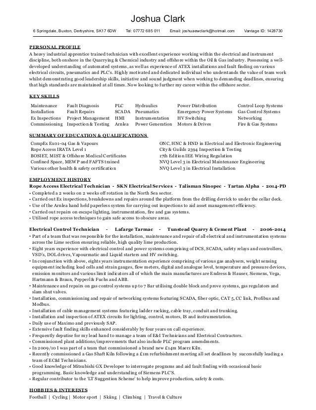 CompEx Electrician - CV - Joshua Clark