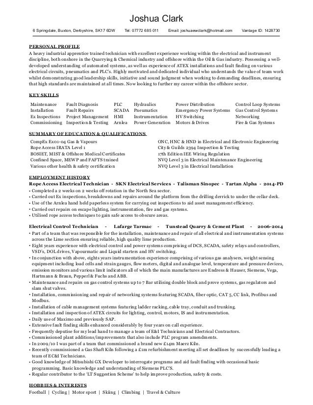 cv for electrician