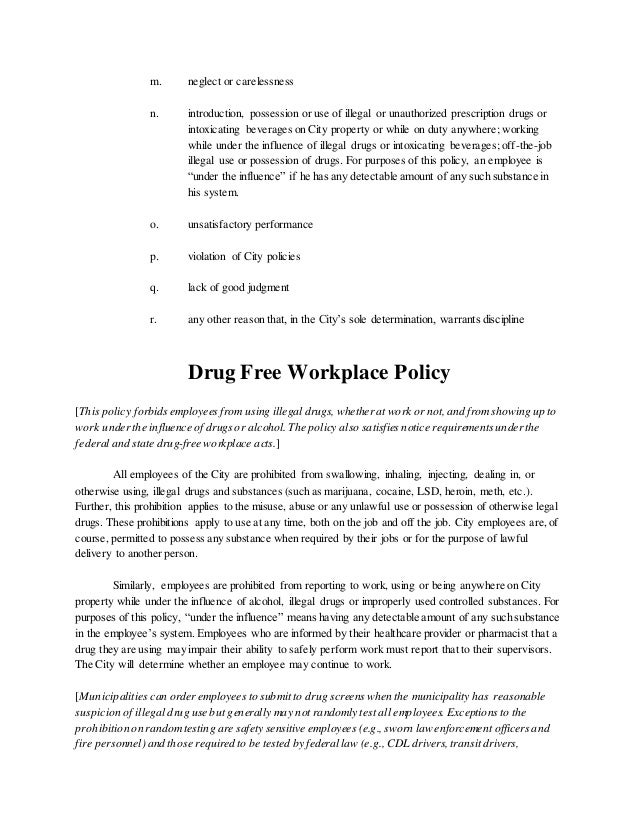employee handbook safety policy