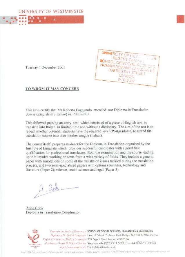 University Westminster Translation Certificate