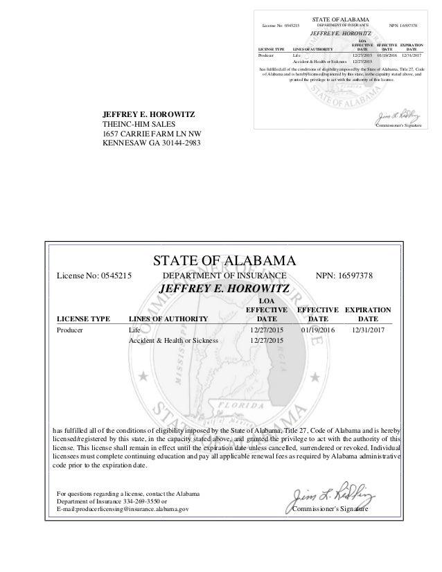 Alabama Life and Health Insurance License