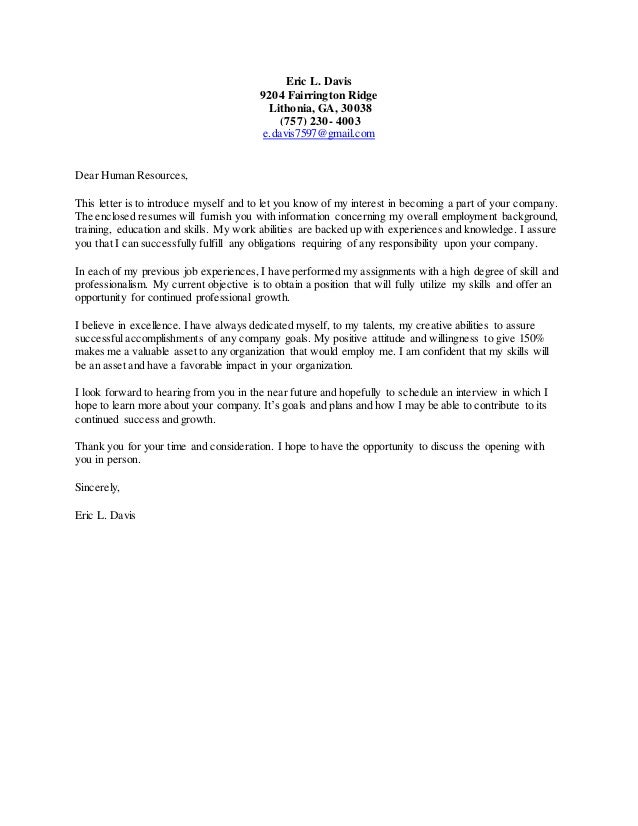 writing a general cover letter eric l davis cover letter 25809 | eric l davis cover letter 1 638