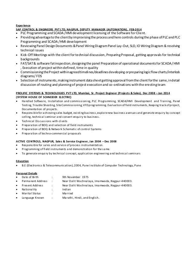 Resume Examples Industrial Engineer Plc Programmer