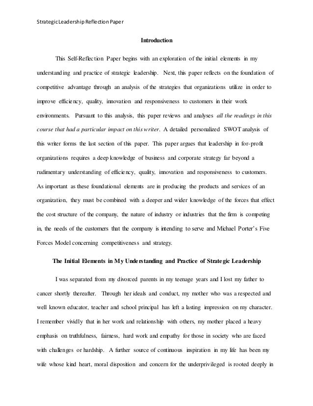 leadership reflection Leadership reflection essay the development of leadership skills is very important because they help to achieve both personal and professional success at the same time, often people faces difficulties with the development of their leadership skills and abilities.