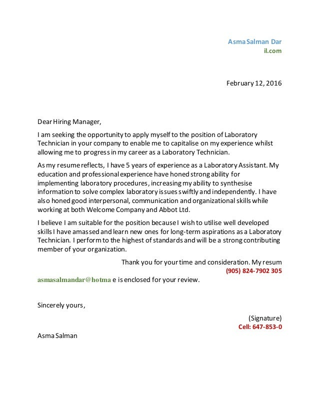 Asma Lab Tech Cover Letter