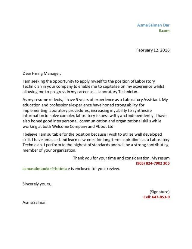 laboratory technician cover letter