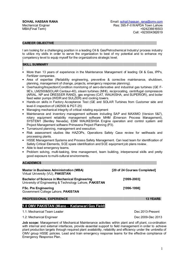 resume for plant maintenance