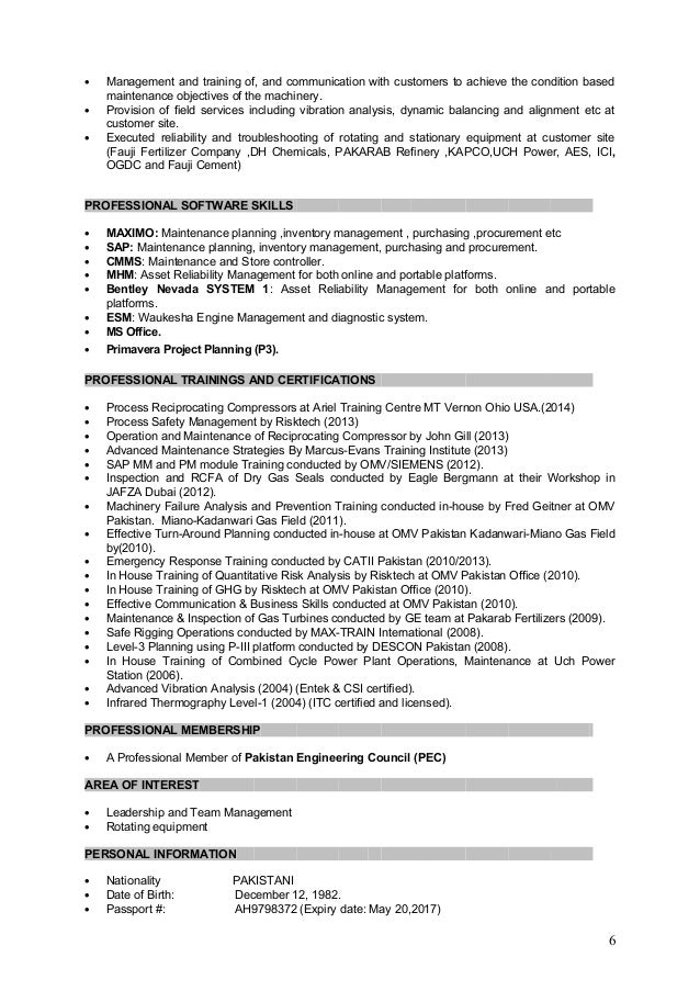5 6 - Asset Maintenance Engineer Sample Resume