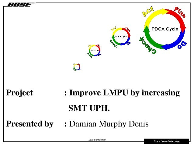 Bose Lean Enterprise Bose Confidential Project : Improve LMPU by increasing SMT UPH. Presented by : Damian Murphy Denis