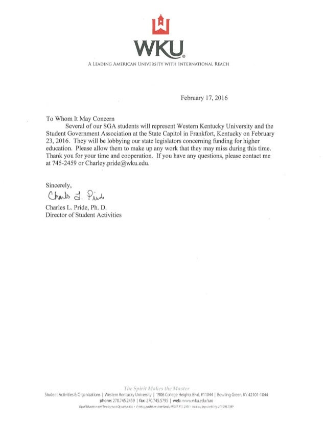 Lobbying Excuse Letter.Spring2016