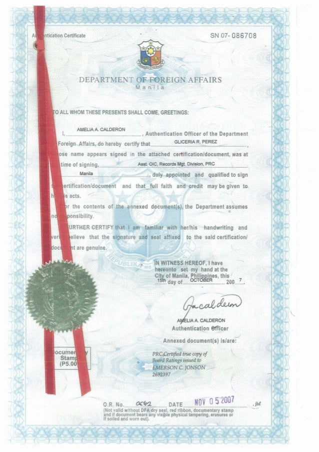 PRC Certified True Copy of Board Ratings