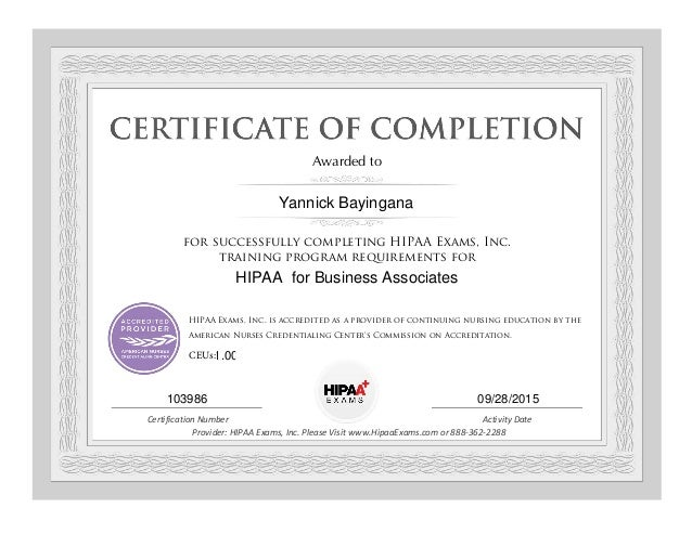 Hipaa Training Certificate