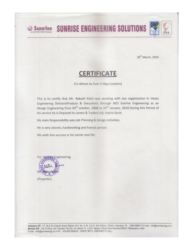 L T Design Experience Certificate