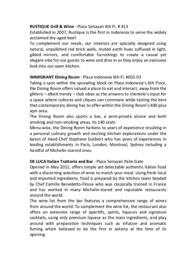 RUSTIQUE  Grill  &  Wine  -‐  Plaza  Senayan  4th  Fl.  #  413   Established  in  2007,  Rust...