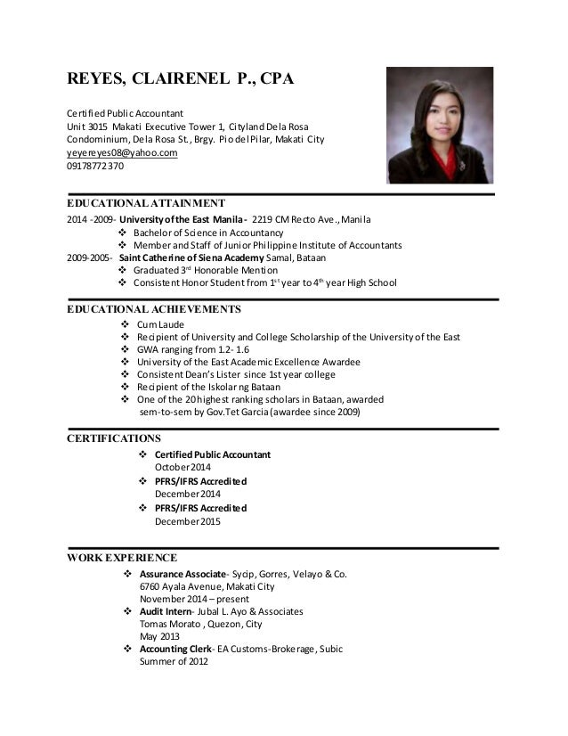 reyes clairenel p cpa certifiedpublic accountant unit 3015 makati executive tower 1 - Cpa Resume