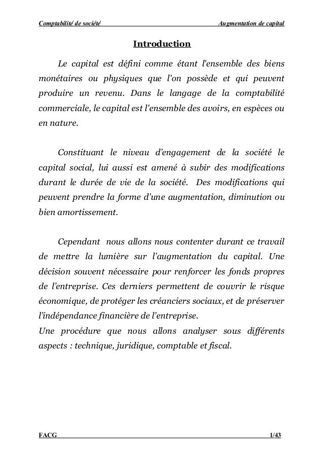 Comptabilité de société                         Augmentation de capital                          Introduction       Le cap...