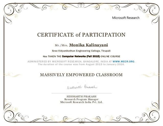 certificate of participation template ppt - mec fall 2015 participation certificate monika