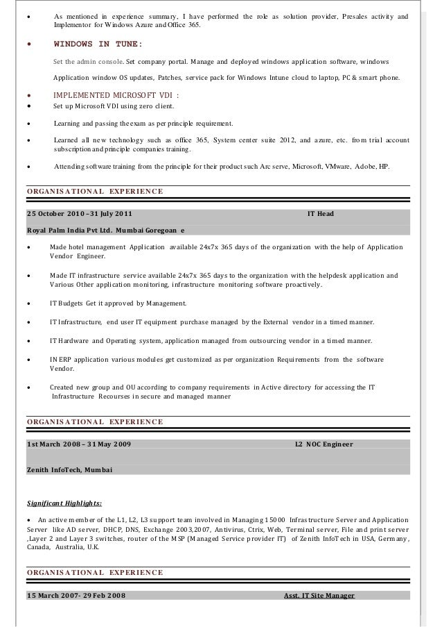 Resume With Vdi Experience