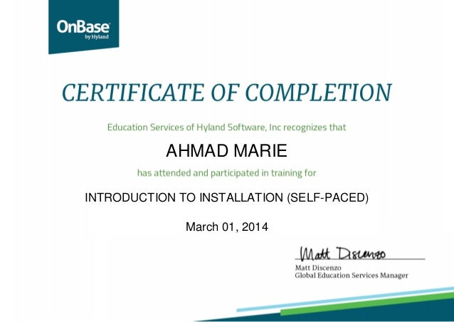 AHMAD MARIE INTRODUCTION TO INSTALLATION (SELF-PACED) March 01, 2014