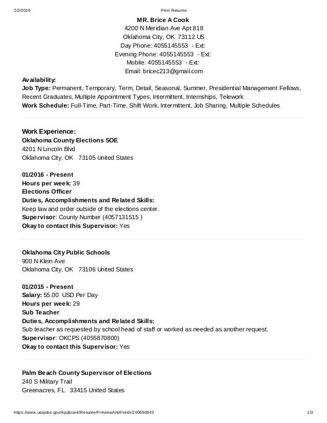 222016 print resume httpswwwusajobsgov - Usa Jobs Resume