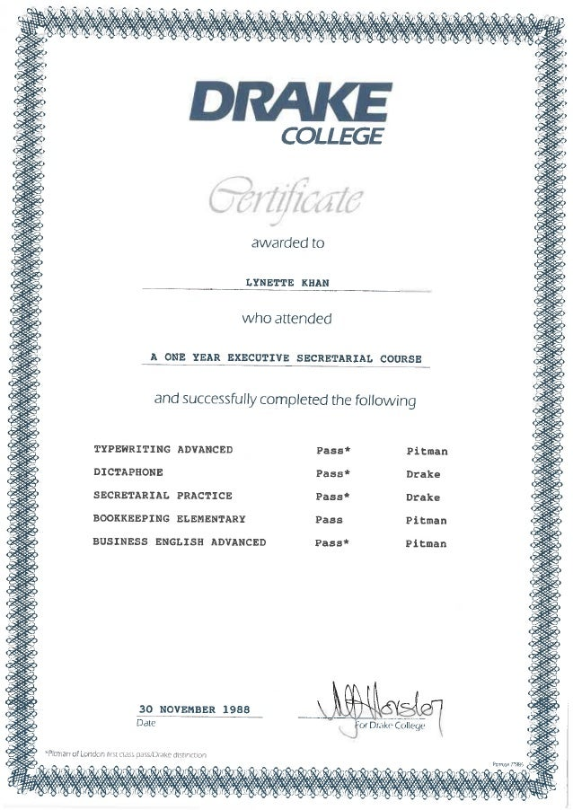 Lynnie certificates