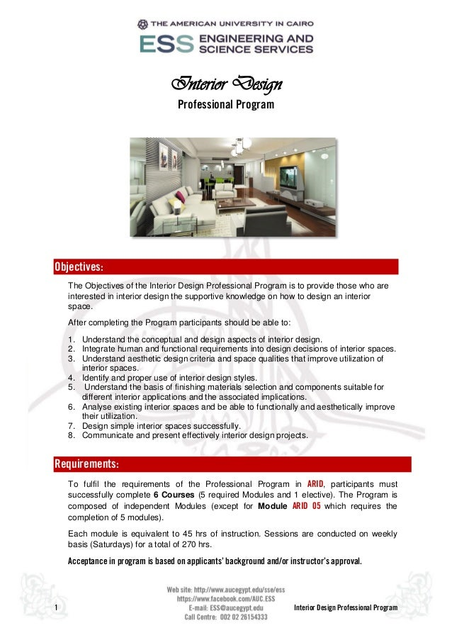 1 Interior Design Professional Program Interior Design Professional Program  Objectives: The Objectives of the Interior ...
