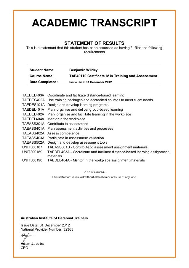 Certificate Iv In Training And Assessment Tae40110 Transcript P1