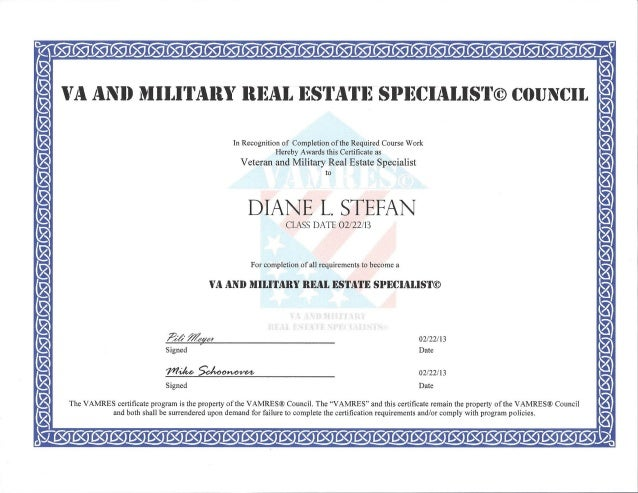 VA and Military Real Estate Specialist Award