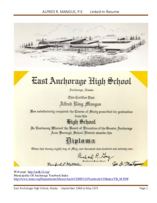 Alfred Mangus Resume for East Anchorage High School linked-in upload …