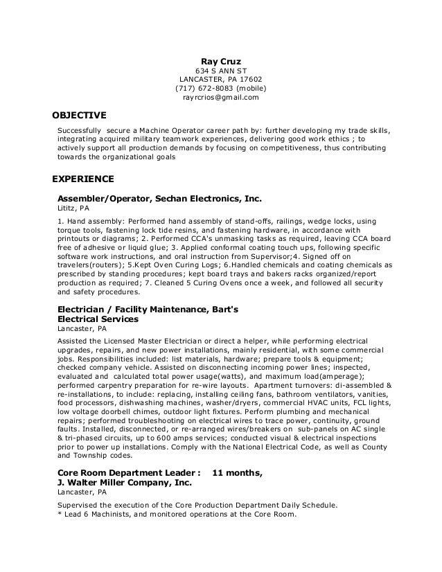 Machine _Operator Resume. Ray Cruz 634 S ANN ST LANCASTER, PA 17602 (717)  672 8083 ...