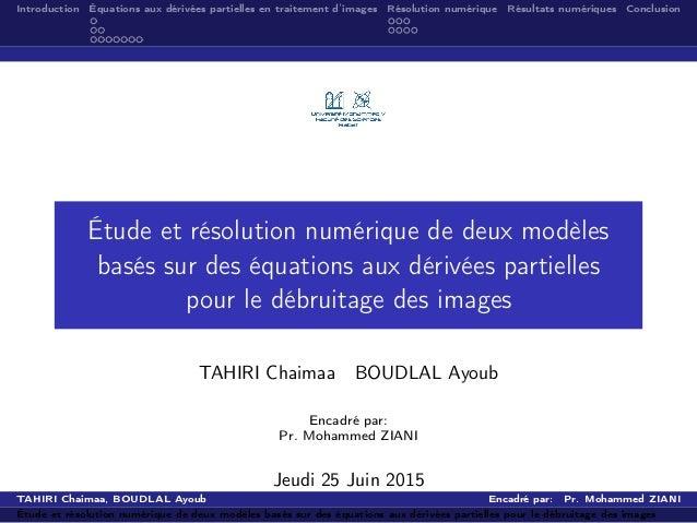 Introduction Équations aux dérivées partielles en traitement d'images Résolution numérique Résultats numériques Conclusion...