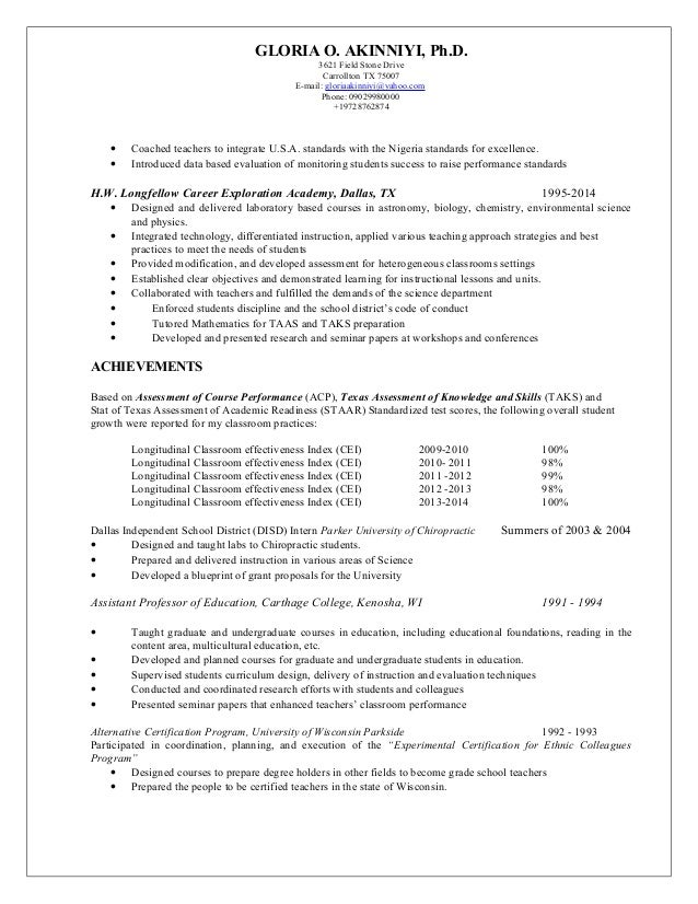 Resume Gloria Akinniyi