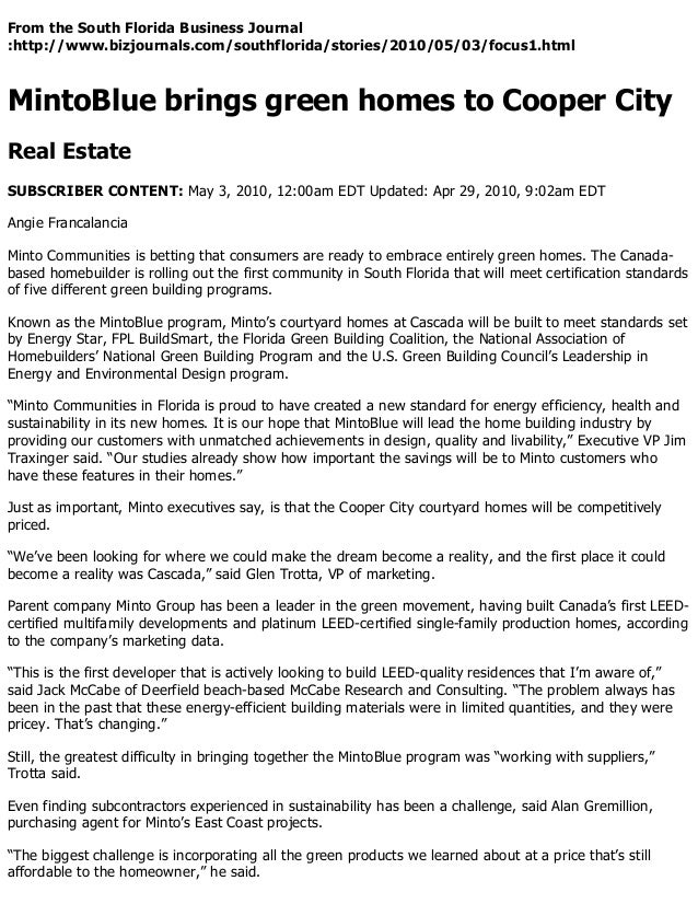 Mintoblue Brings Green Homes To Cooper City South Florida Business