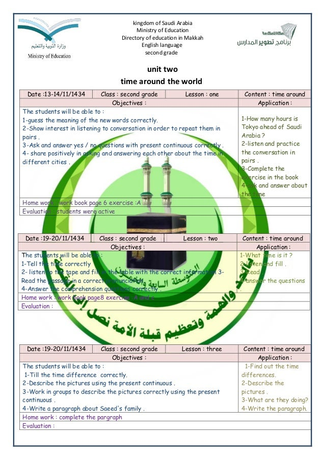 kingdom of Saudi Arabia Ministry of Education Directory of education in Makkah English language second grade  unit two tim...