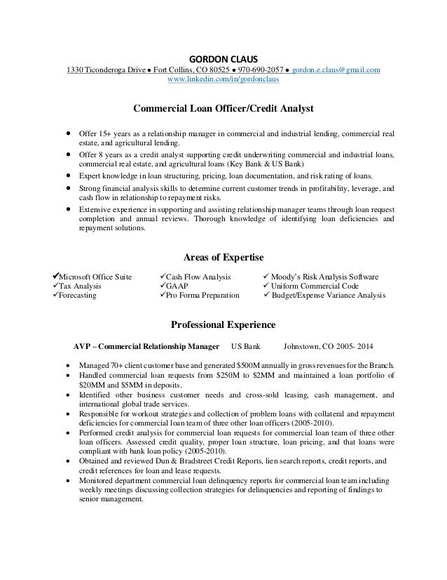 commercial credit analyst resumes