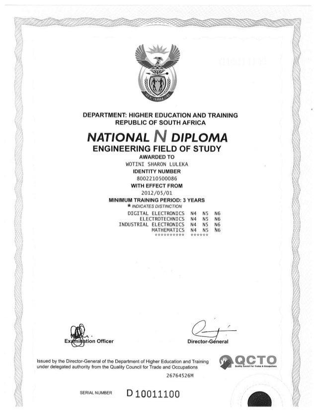 National N Diploma 1