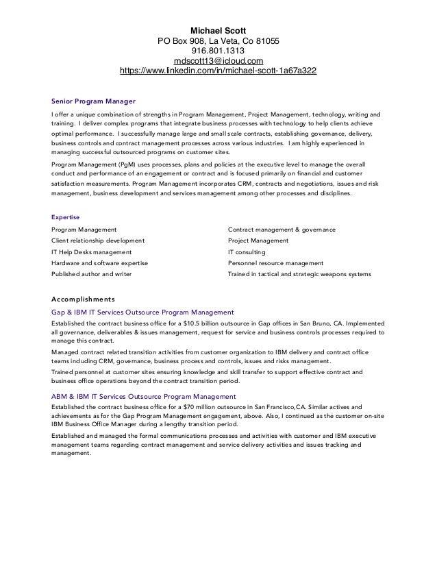 program management resume