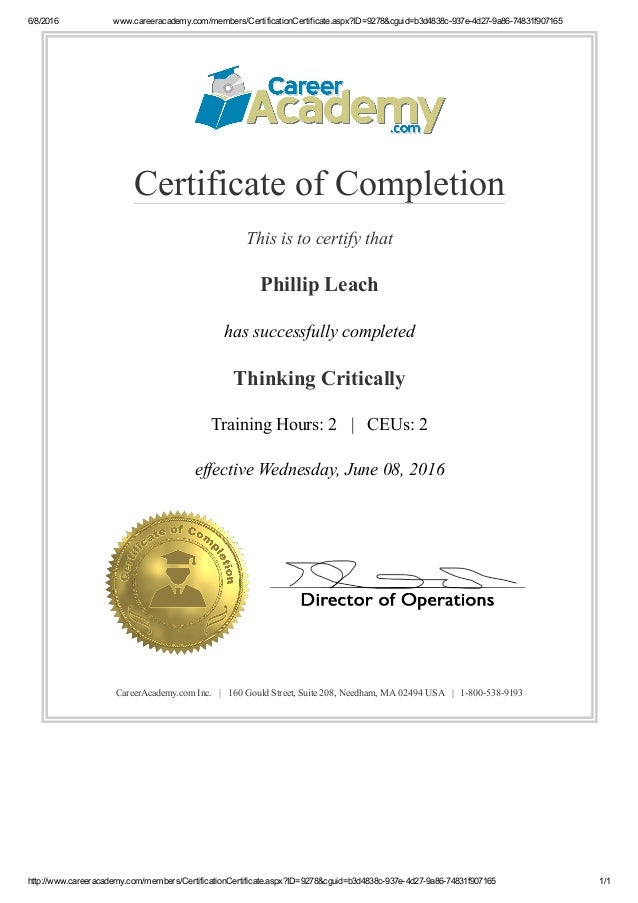 Critical Thinking Certificate Career Academy