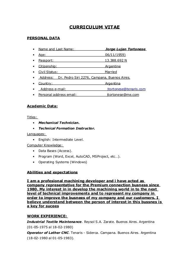 curriculum vitae personal data name and last name jorge lujan tortonese age