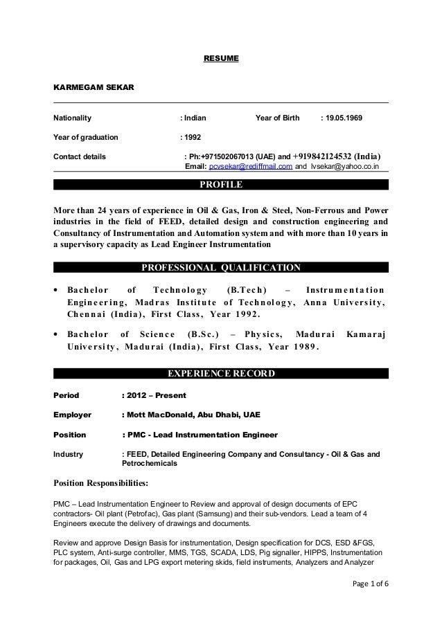 K ABDUL RAHMAN Curriculum Vitae Instrumentation And Control Engineer ...