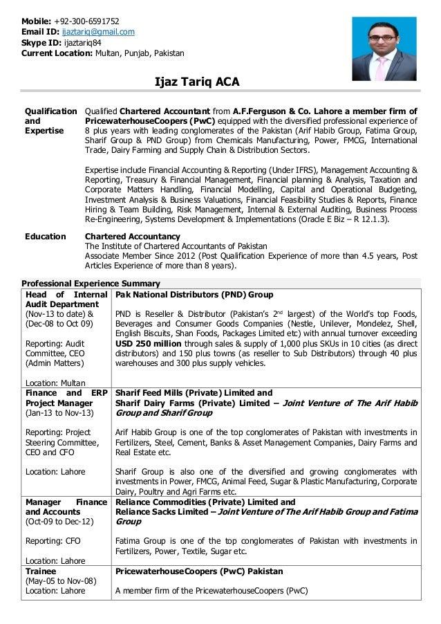 Ijaz Tariq ACA Resume 0101IA