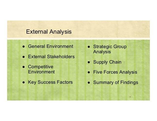 External Analysis ● General Environment ● External Stakeholders ● Competitive Environment ● Key Success Factors ● Strategi...