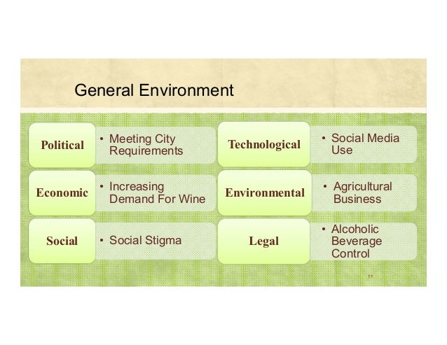 General Environment 11 • Meeting City Requirements Political • Increasing Demand For Wine Economic • Social StigmaSocial •...